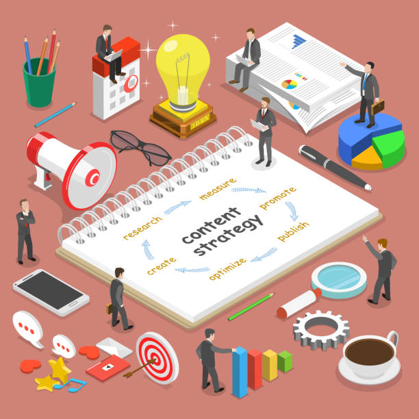 content strategy flat isometric vector concept. - contented emotion stock illustrations