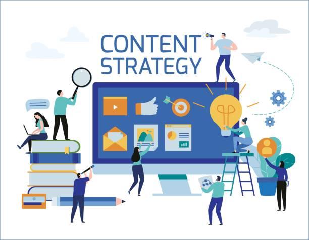 bildbanksillustrationer, clip art samt tecknat material och ikoner med content strategi marknadsföring reklam. vektor illustration infographic sociala medier affärsidé, små människor som arbetar inredda laptop teknik. flat tecknad design för mobil och webb koncept. - kvinna tillfreds