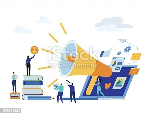 Content strategy marketing advertising. vector illustration infographic social media business concept, small people working decorated laptop technology. flat cartoon design for mobile and web concept.
