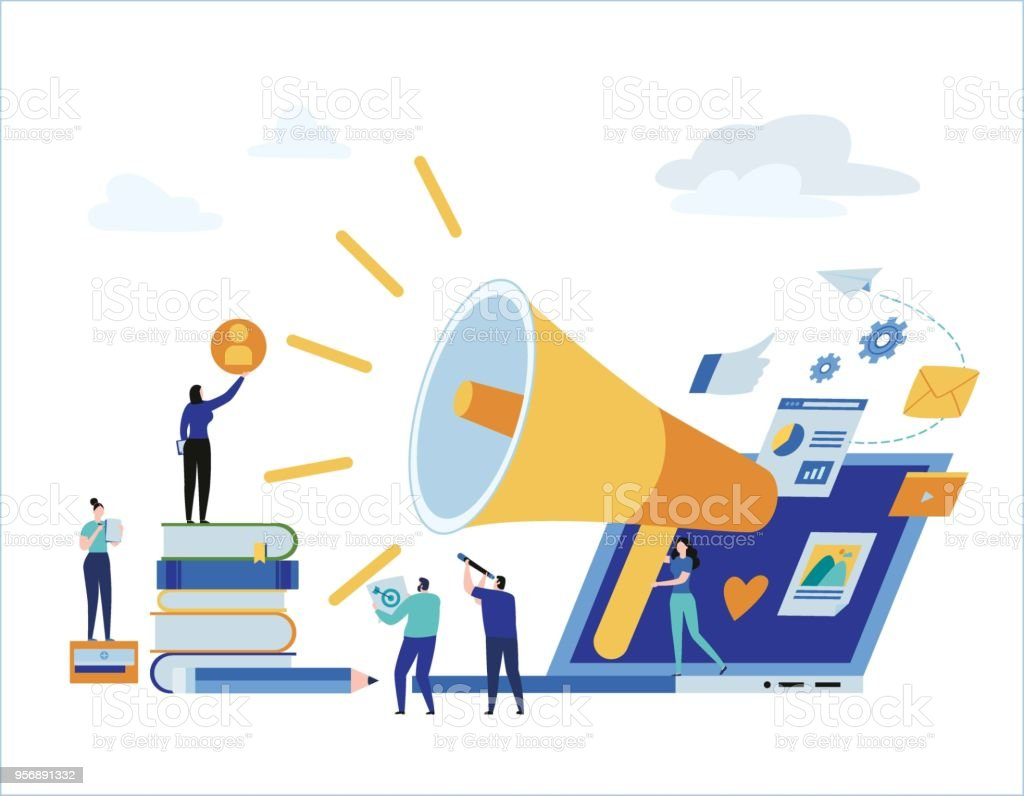 Content strategy marketing advertising. vector illustration infographic social media business concept, small people working decorated laptop technology. flat cartoon design for mobile and web concept. vector art illustration
