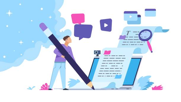 Content writer. Blog articles creation concept with people characters, freelance work business and marketing. Vector illustration vector art illustration