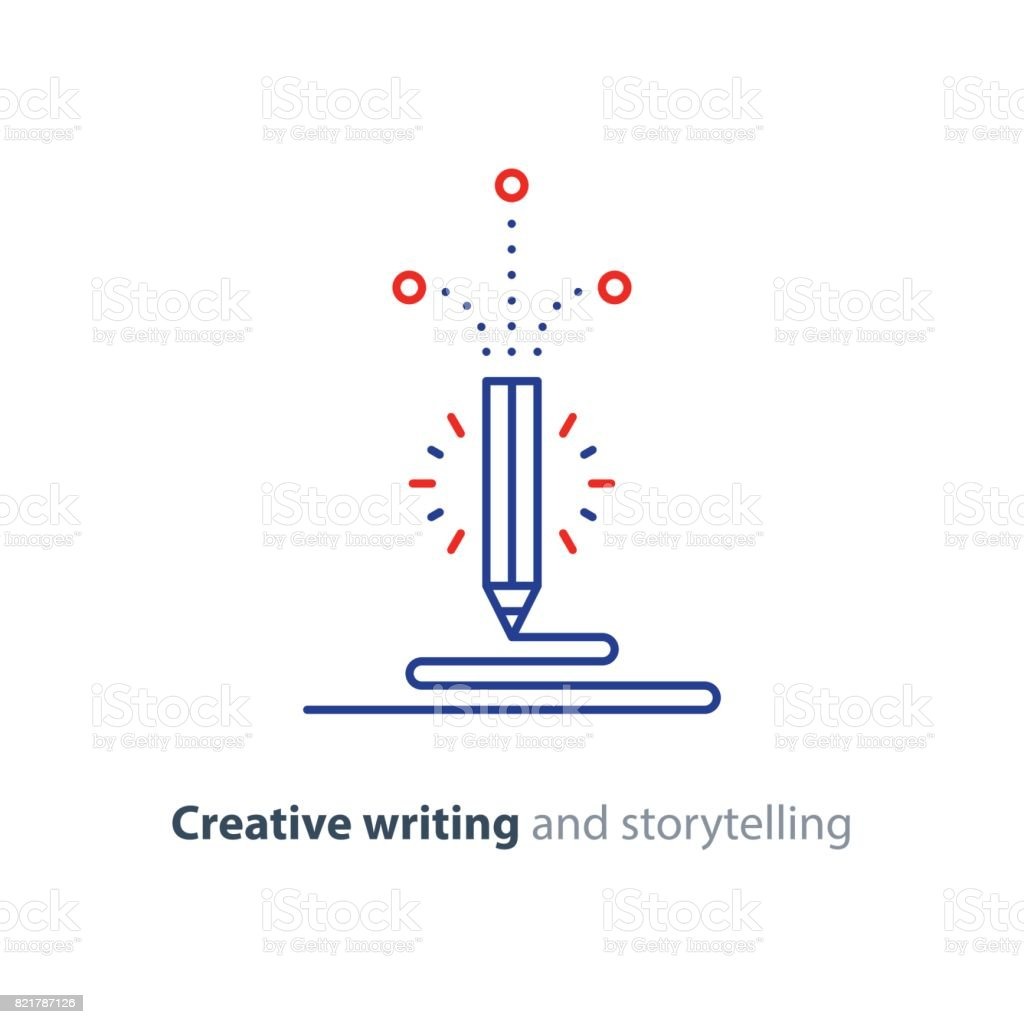 Inhalt Schreiben Kreative Geschichtenerzählen Vektor Icon Stock