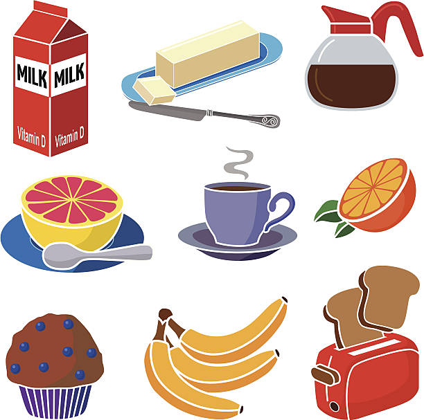 continental breakfast vector art illustration