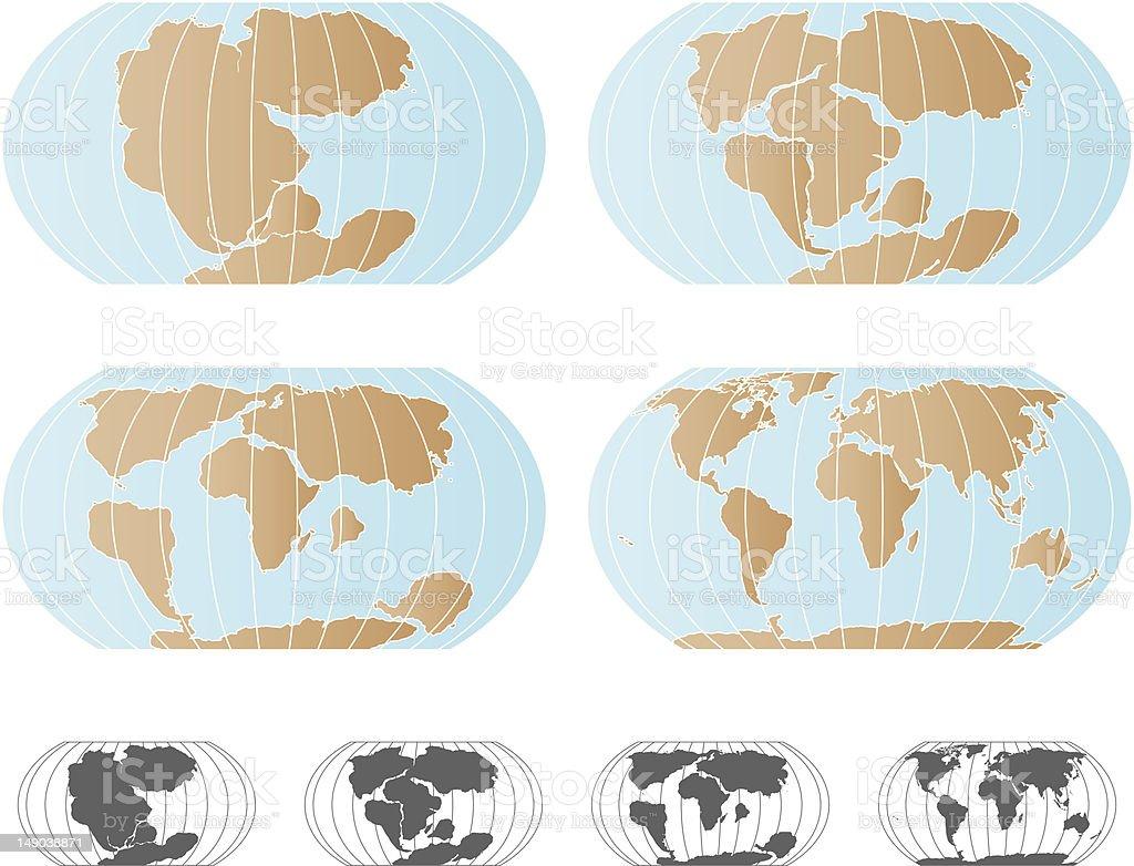 Continental Drift - Pangaea Map Set vector art illustration