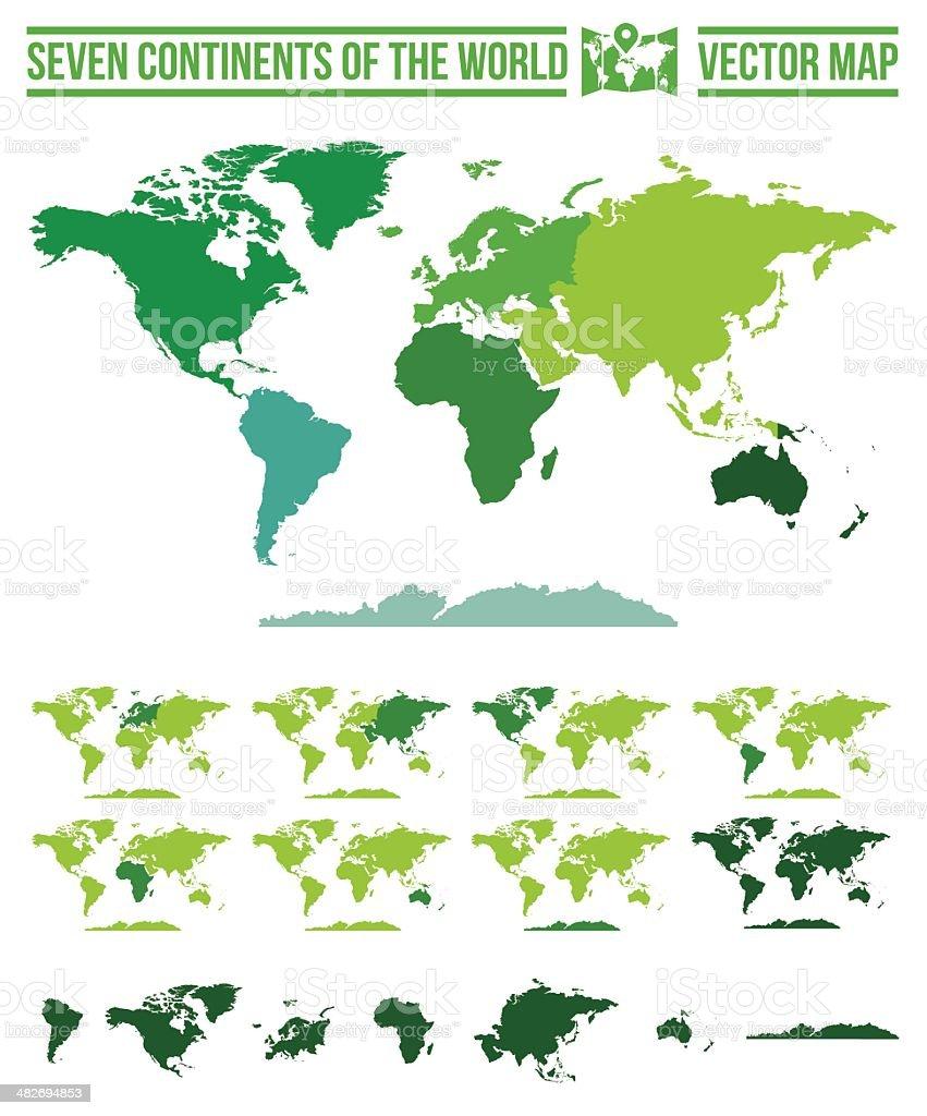 Continentes Mapa de mundo-Vector y ruta - ilustración de arte vectorial
