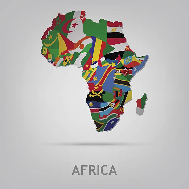 illustrations, cliparts, dessins animés et icônes de continet afrique - cartes et drapeaux