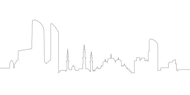 continous line skyline of abu dhabi - abu dhabi stock illustrations