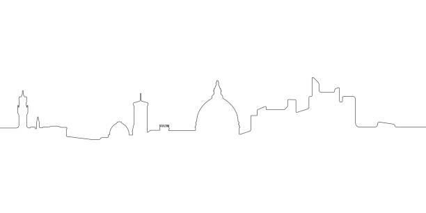 illustrazioni stock, clip art, cartoni animati e icone di tendenza di continous line skyline of florence - firenze