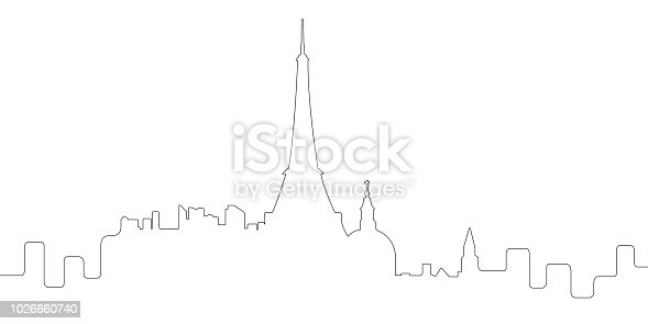 Continous line skyline of Paris. Vector illustration design