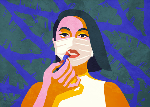 Young woman influencer, beauty blogger doing a makeup tutorial, applying lipstick over a medical face mask. Boredom, feeling isolated and trapped, nowhere to go. Living as an introvert, being alone. Stylish modern vector illustration, hand drawn elements. Perfect for editorial, blog or magazine article.