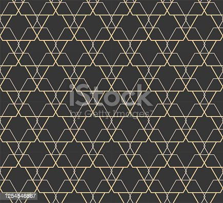 istock Continuous Asian Graphic Rhombus Swatch Pattern. Repeat Modern Vector Luxury Repeat Texture. Seamless Black Poly Lattice Pattern. 1254546867
