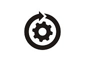 istock Continuous development. Simple icon in black and white. 1182747654