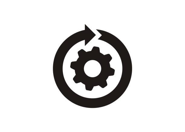 ciągły rozwój. prosta ikona w czerni i bieli. - umiejętność stock illustrations