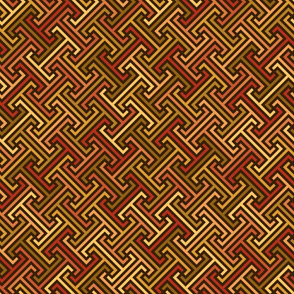 continuous diagonal meander. greek fret repeated motif. vector seamless pattern. geometric repetitive background. color fabric swatch. wrapping paper. stylish texture. design element for textile decor