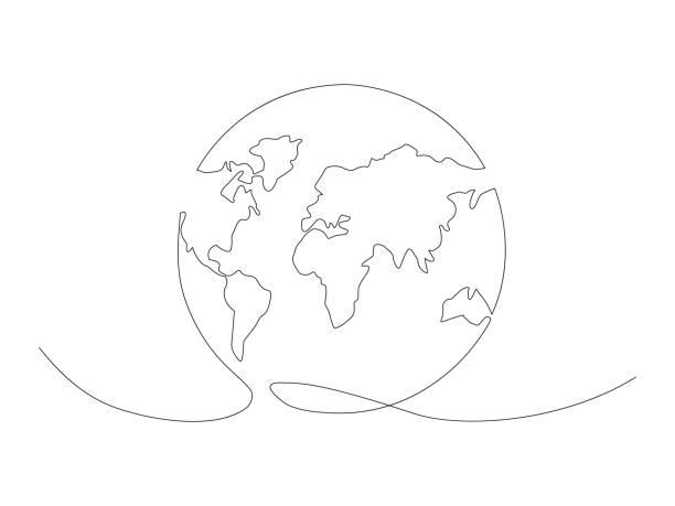 連続アース線描画ストックベクトルのイラスト - 地球点のイラスト素材/クリップアート素材/マンガ素材/アイコン素材
