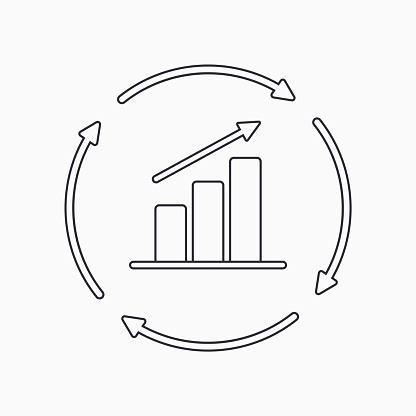 Continuous growth line icon. Growth chart with circular arrows flat icon. Vector