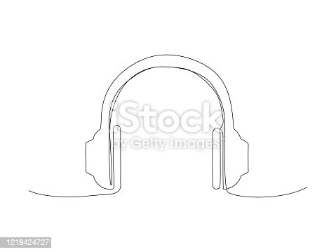 Continuous headphone line stock vector illustration isolated on white background.
