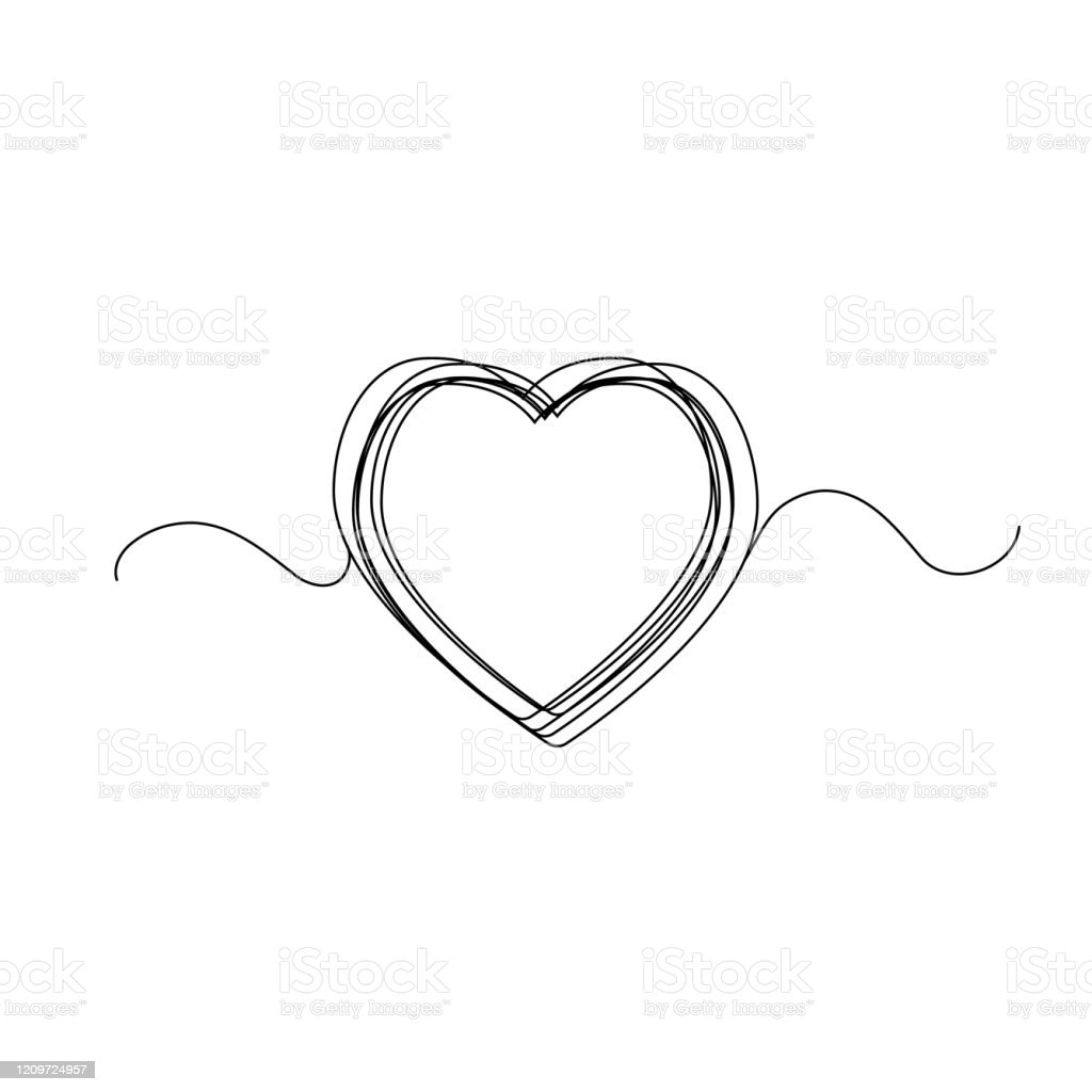 Continuous Heart Vector Illustration One Line Art Love Symbol