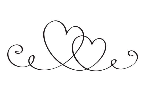 Kontinuierliche Linie KunstZeichnung. Paar von Herzen symbolisieren Liebe. Abstrakte Herzen Frau und Mann. Vektor-Illustration – Vektorgrafik
