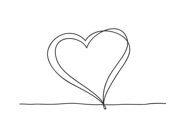 Kontinuierliche Linie KunstZeichnung. Paar von Herzen symbolisieren Liebe. Abstrakte Herzen Frau und Baby. Vektor-Illustration. – Vektorgrafik
