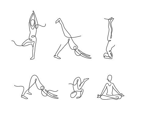 continuous line art yoga poses