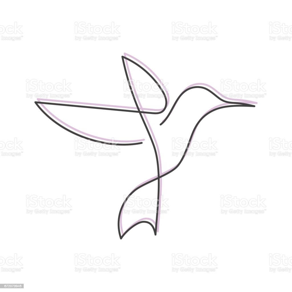 Drawing Vector Lines : Continuous line bird one drawing for icon card banner