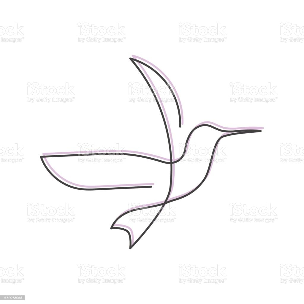 Single Line Unicode Art : Continuous line bird one drawing for icon card banner