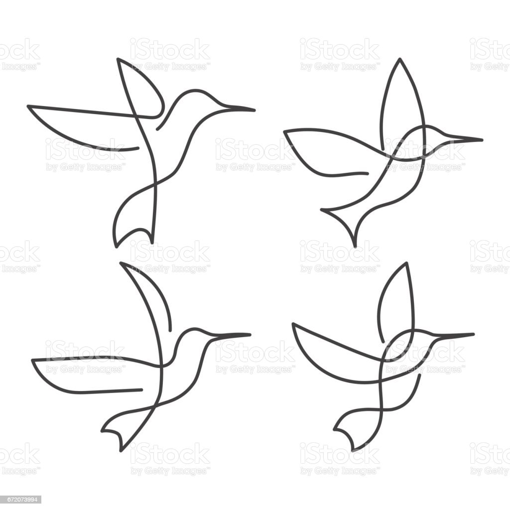 Continuous line bird White one line drawing vector art illustration