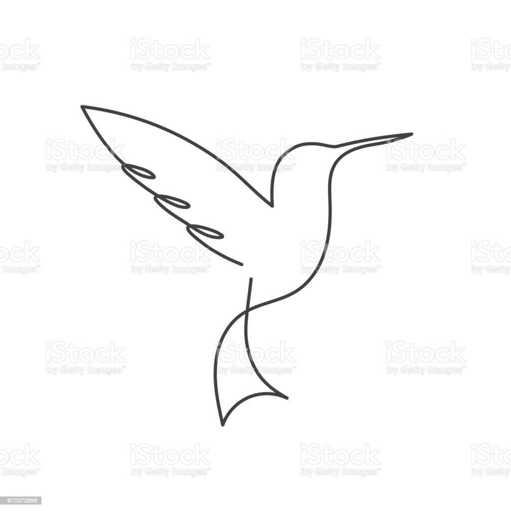Vector Drawing Lines Job : Ilustración de ave línea continua blanca una