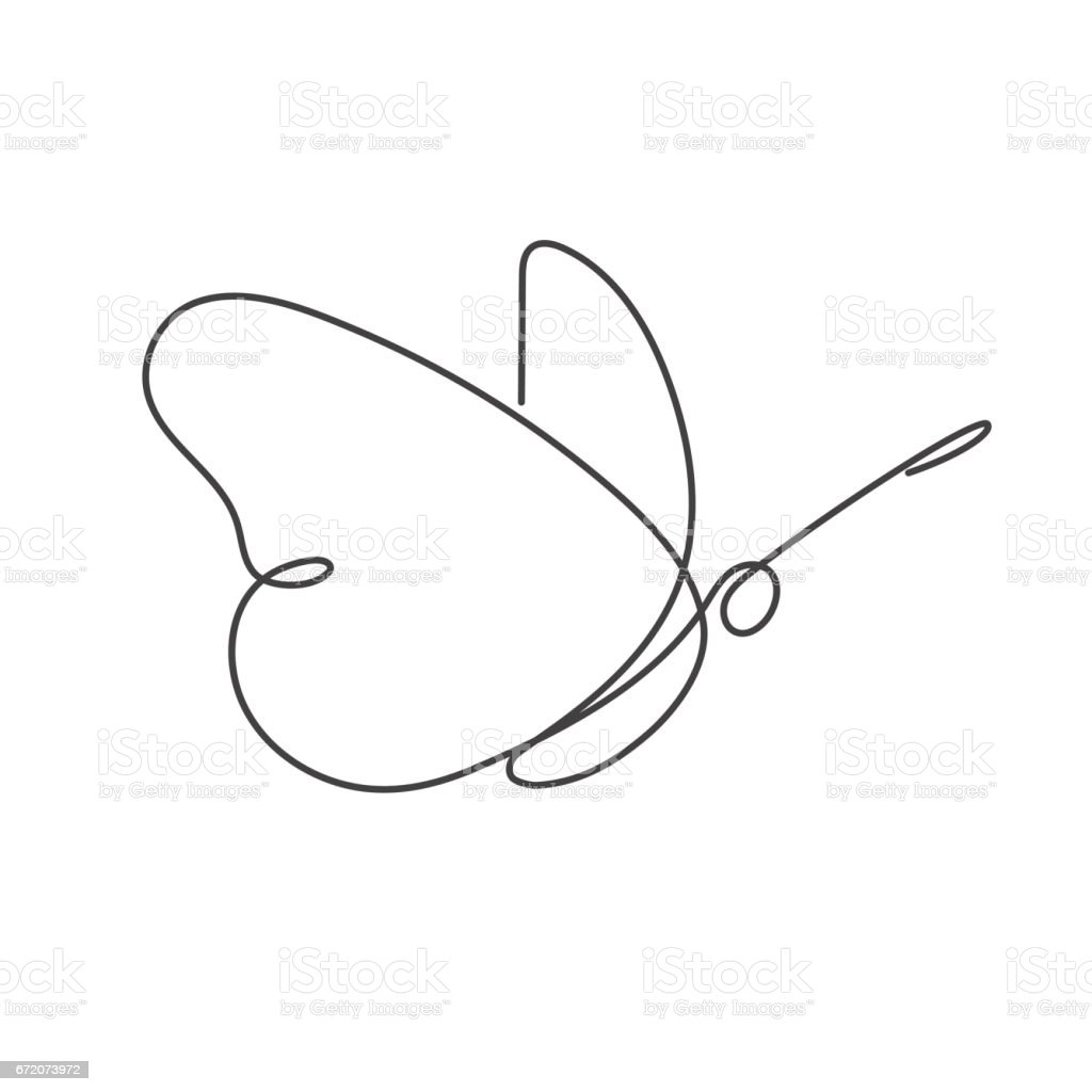 Continuous line butterfly White one line drawing