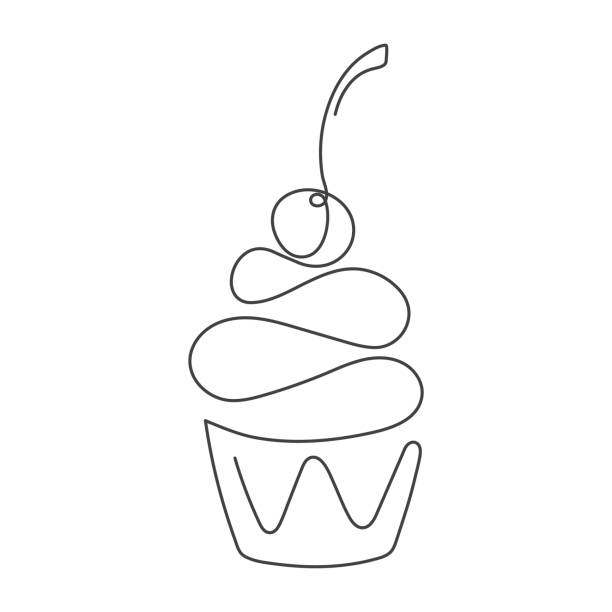 Continuous line cupcake with cherry on top isolated on white background. Vector illustration. Continuous line cupcake with cherry on top isolated on white background. Vector illustration. One line drawing. Hand drawn element for cafe, bakery icon, inviting card, banner, sale poster, flyer black and white food stock illustrations