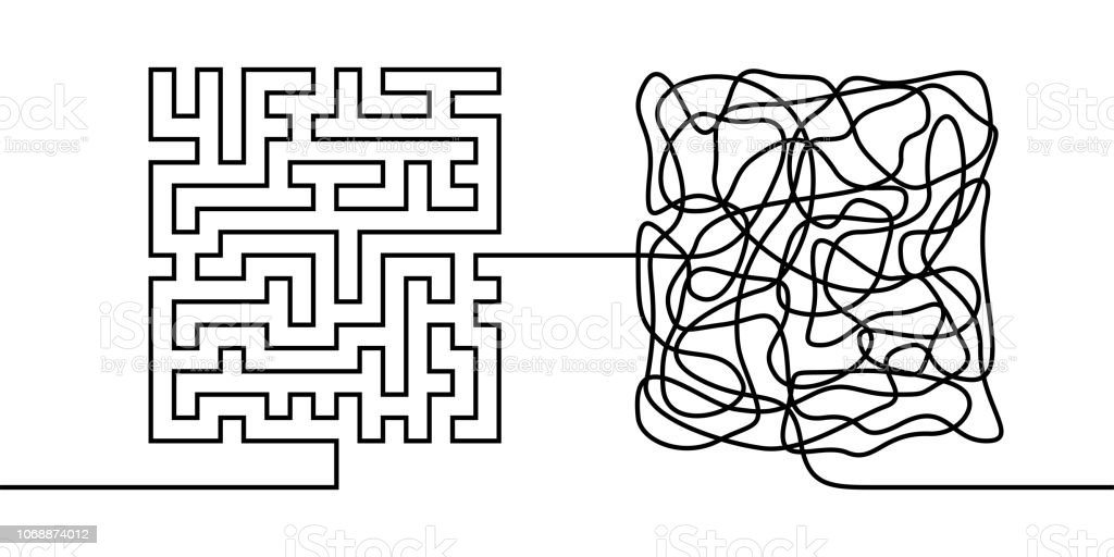 Continuous line drawing a chaos and order concept