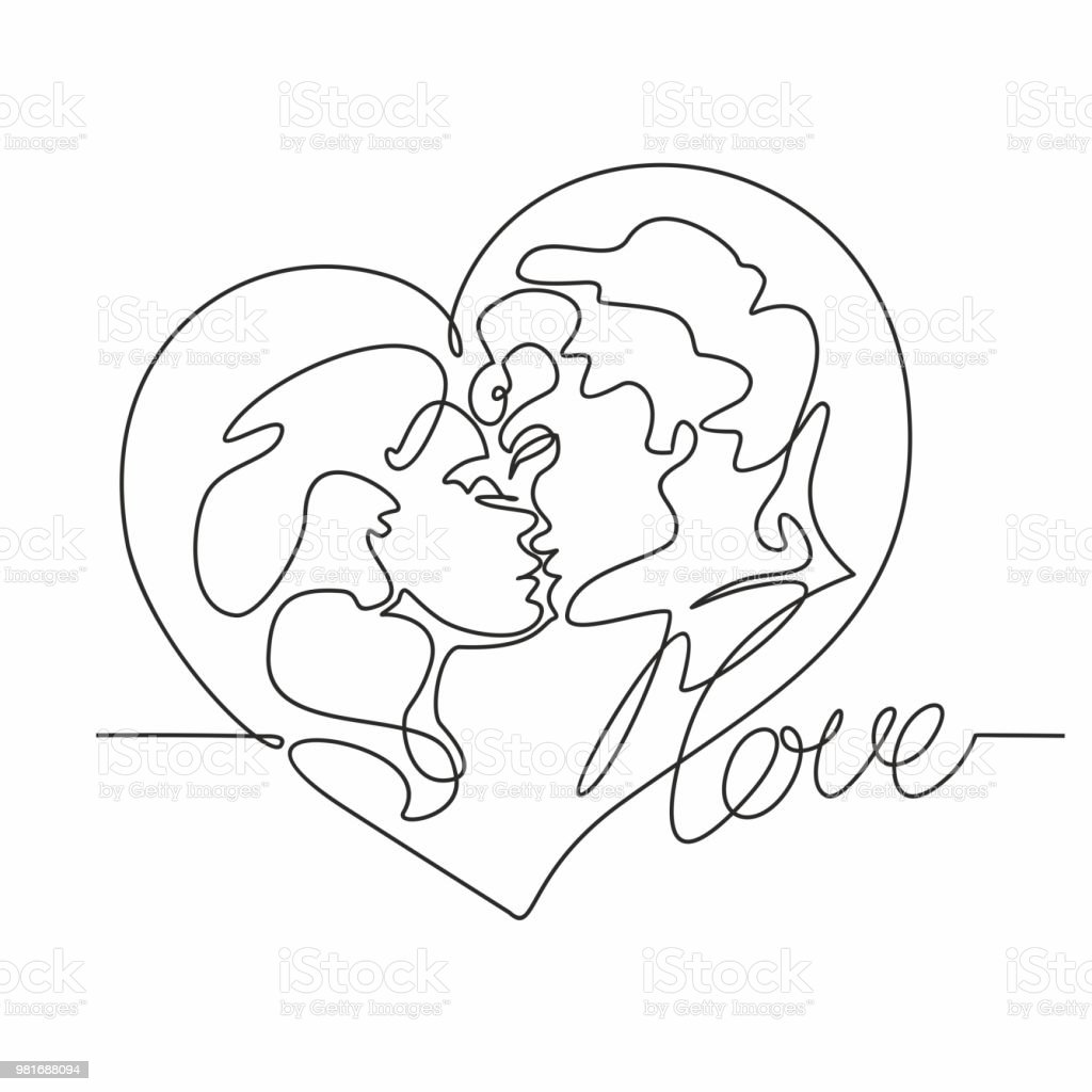 Continuous Line Drawing A Couple Of Kisses Loving Man And Woman
