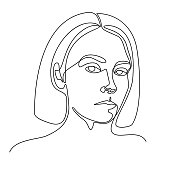Continuous line drawing. A girl portrait. Vector illustration. In black colour isolated on white background
