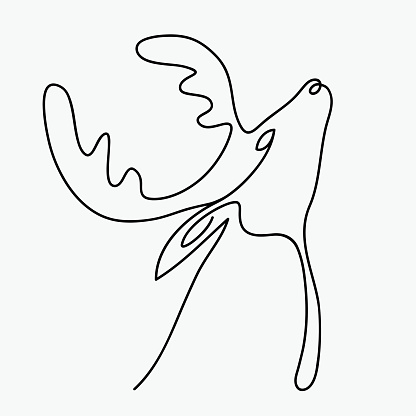Continuous line drawing abstract reindeer. Modern one line animal illustration, aesthetic contour. Greeting cards, prints, poster, sticker, logo. banner - isolated vector illustration