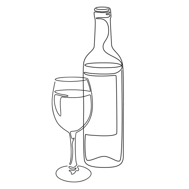 continuous line drawing. bottle and glass of wine. vector illustration. - butelka wina stock illustrations