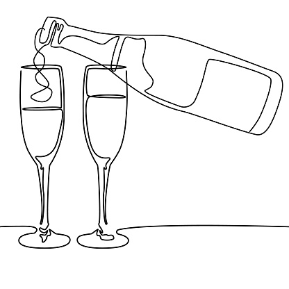 Continuous line drawing. Bottle and glasses of champagne wine. Vector illustration.