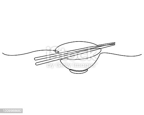 istock Continuous line drawing. bowl with a pair of isolated chopsticks on a white background. Vector 1209988682