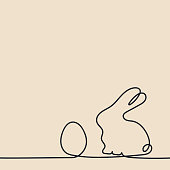 Continuous line drawing. Easter egg and rabbit . Hand drawn vector illustration