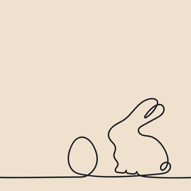 ilustrações de stock, clip art, desenhos animados e ícones de continuous line drawing. easter egg and rabbit . hand drawn vector illustration - um animal