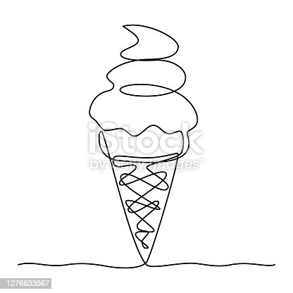 istock Continuous line drawing. Ice cream. 1276633567