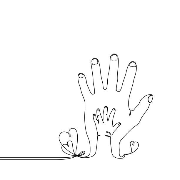 kontinuierlichen strichzeichnung von baby kind hand auf der eltern-seite - adoption stock-grafiken, -clipart, -cartoons und -symbole