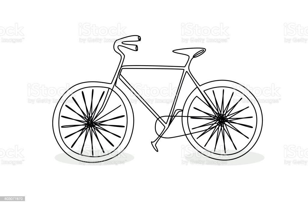 Line Drawing Bike : 자전거 낙서 스타일의 연속 선 그리기 검정에 대한 스톡 벡터 아트 및 기타 이미지