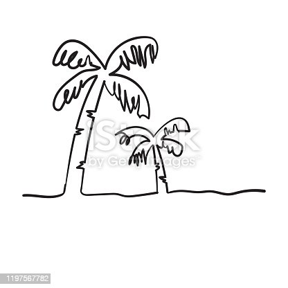 istock continuous line drawing of a natural coconut doodle handdrawing style 1197567782