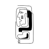 Continuous line drawing of aesthetic contour. Contemporary art, modern graphic design woman with hands in the ethnic style. Modern minimalist, abstract vector illustration of girl hugging herself.