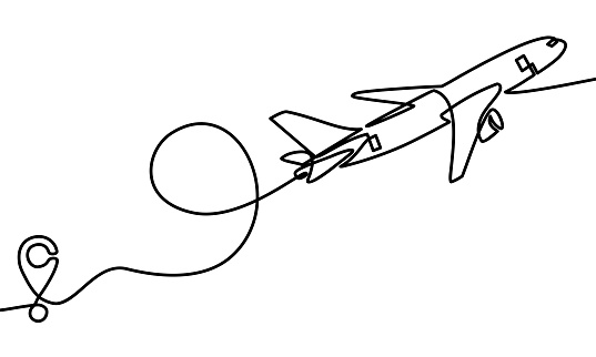 Continuous line drawing of Airplane line path .vector icon of air plane flight route with start point and dash line trace - Vector illustration. - Vector