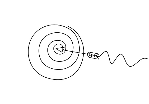 Continuous line drawing of arrow in center of target. One hand drawn goal object of archery business challenge metaphor. Vector illustration hunting and winner theme.