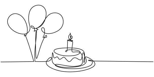 Continuous line drawing of birthday cake. A cake with sweet cream and candle. Celebration birthday party concept isolated on white background. Hand drawn vector design illustration Continuous line drawing of birthday cake. A cake with sweet cream and candle. Celebration birthday party concept isolated on white background. Hand drawn vector design illustration anniversary symbols stock illustrations