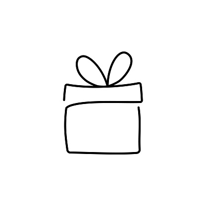 continuous line drawing of gift box vector illustration