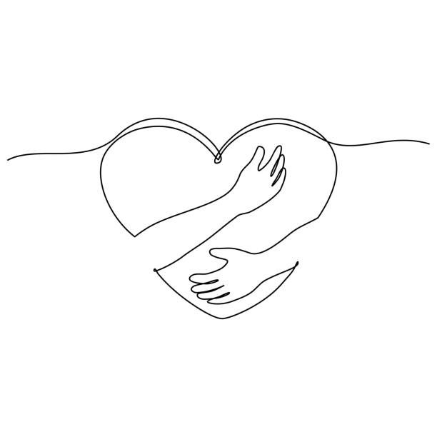 continuous line drawing of hand hugging heart, hug. Vector continuous line drawing of hand hugging heart, hug. Vector hug stock illustrations